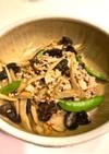 ゴボウとひき肉、キクラゲの味噌炒め