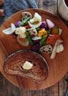 蒸し柿と秋野菜の温サラダ