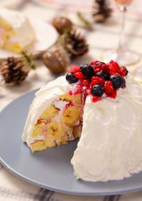 ロールケーキで簡単☆ベリーのドームケーキ