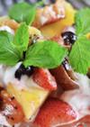 レーズンパンとフルーツのマシュマロ焼き