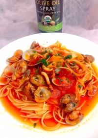あさりとボイルイカのトマトスパゲティ