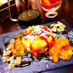 パンケーキ☆ 柿のコンポートと胡桃添え