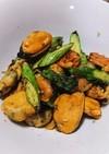 ムール貝とアスパラの簡単炒め