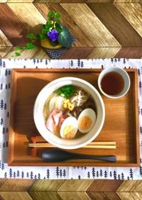 水からキノコ☆ベーコン入り味噌味のフォー