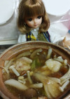 リカちゃん♡骨付き鶏のきのこ鍋風ꕤ