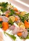 簡単一手間*水菜と昆布締鯛の御馳走サラダ