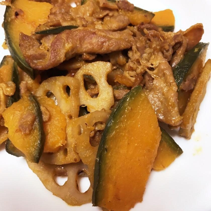 豚肉・かぼちゃ・蓮根の甘辛炒め