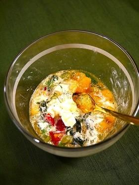 簡単!柿と小松菜のクリームチーズ和え