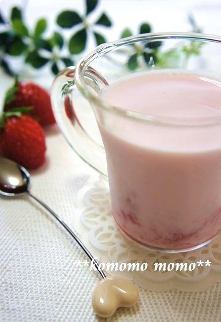 簡単♥いちごヨーグルト牛乳