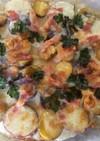 モッツァレラチーズと小粒ジャガイモのピザ