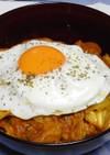 豚キャベツの炒めカレー丼