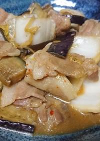 白菜と茄子のみりん醤油炒め