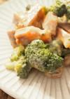 醤油麹使用。柿とブロッコリーサラダ