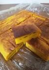 新聞紙型で、かぼちゃチーズケーキ