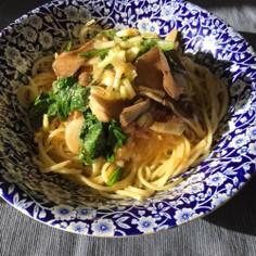 15分で舞茸とツナ、小松菜のみぞれパスタ
