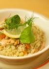 香ばしさが◎秋鮭と野菜の炊き込みピラフ