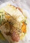 肉詰め豆腐餃子風と野菜のレンジ酒蒸し