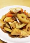 簡単⭐根菜(蓮根・筍・人参)と蒟蒻の煮物