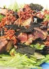 鰹とじゃこの柚子胡椒味おつまみ水菜サラダ