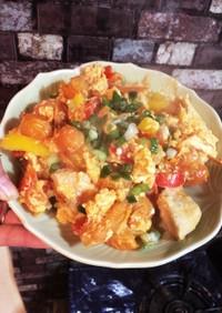 ミニトマト大量消費!卵と鶏肉の中華炒め