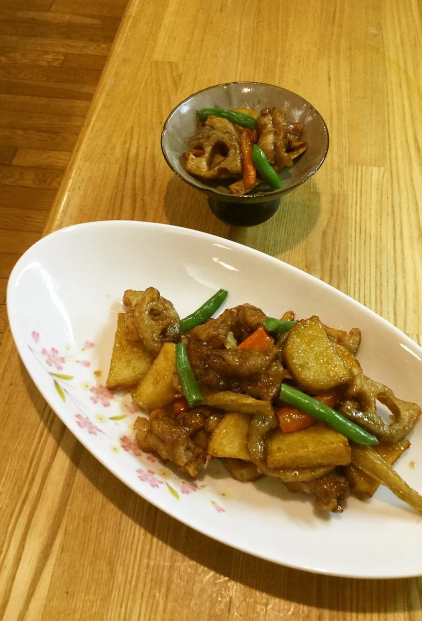 豚バラと根野菜の揚げ炒め。