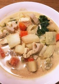 タップリ野菜の豆乳味噌スープ