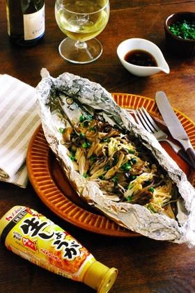 しょうがポン酢de秋刀魚と茸のホイル焼き