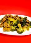 牛コマ肉とブロッコリーのカレー醤油炒め