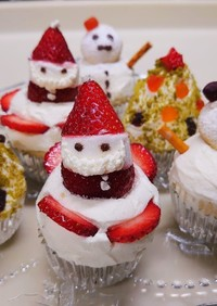 フライパンで作れるクリスマスカップケーキ