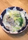 白菜と豚、春雨のミルク煮