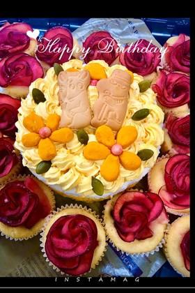 南瓜チーズケーキ・誕生日デコレーション