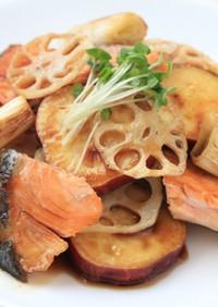 冷めてもおいしい!鮭と根菜類の焼き浸し