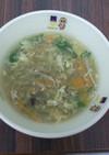 めかぶと水菜のかきたま汁@つくば市学校