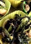 大根菜とサバ缶と玉ねぎの炒め物