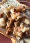 納豆と金時豆のトースト