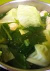 簡単美味・蕪葉とキャベツの鶏団子スープ