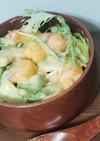 完熟柿、アボカド、水菜のヨーグルトサラダ