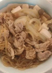 湯がけからの豚肉のレンチンすき焼き風煮
