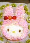 マイメロケーキ手作り☆誕生日ロールケーキ