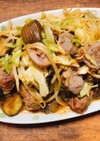 豚のかしら肉と茄子のニンニク味噌野菜炒め