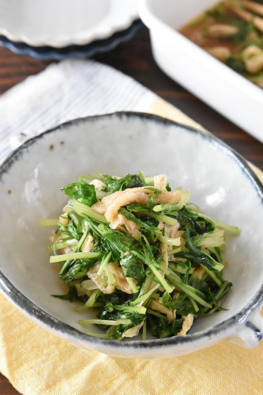 水菜と油揚げの煮浸し【作り置き】