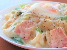 ベーコンと小松菜の豆乳クリームうどん