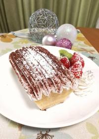 クリスマス☆10分で簡単切り株ケーキ