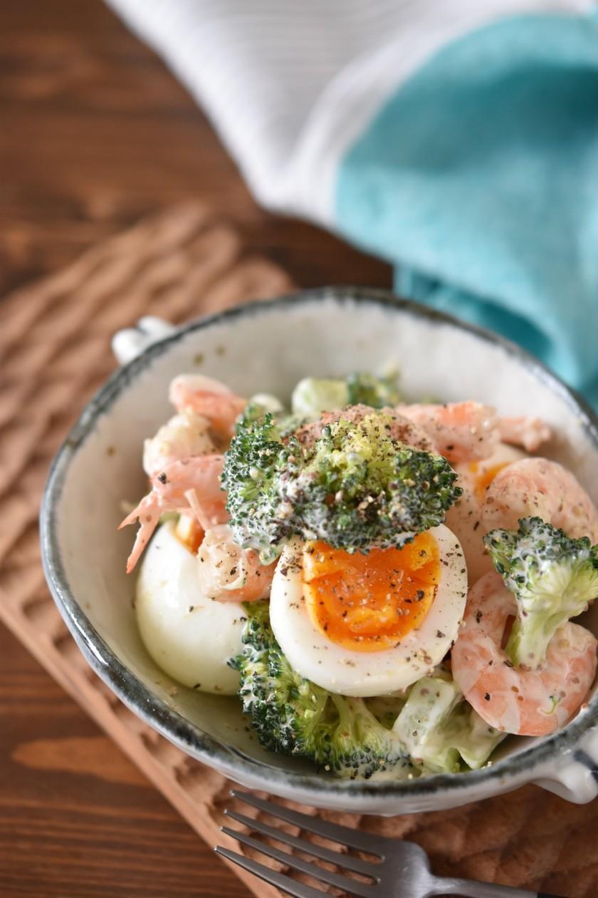 ブロッコリーと海老のごほうび卵サラダ