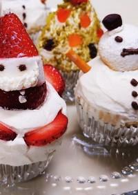 クリスマスカップケーキ/サンタと雪だるま