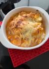 むき海老とゆで卵のツナチーズグラタン