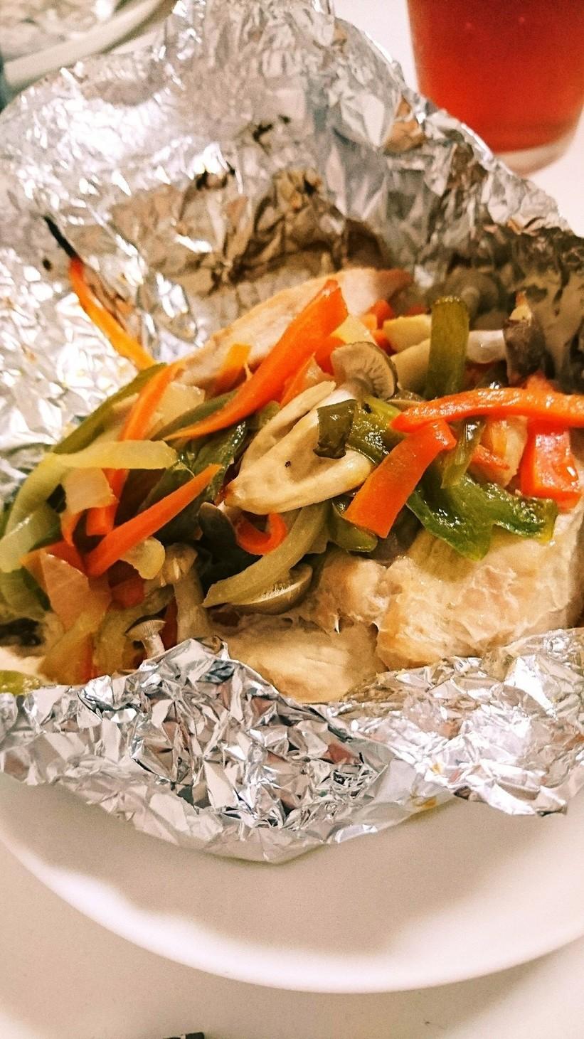 鶏むねと野菜のホイル焼き