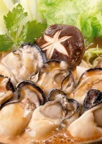 『赤味噌・白味噌で牡蠣の土手鍋』