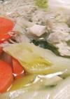 冷蔵庫の野菜と肉と豆腐で一人鍋✨☺⛄