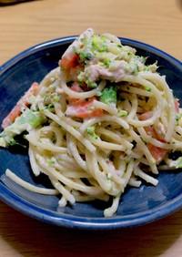 ツナとゆで野菜の簡単サラスパ